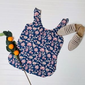 GAP Blue Floral Ruffle Tank Top